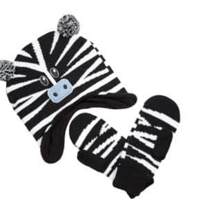 Beanie and mittens Zebra web